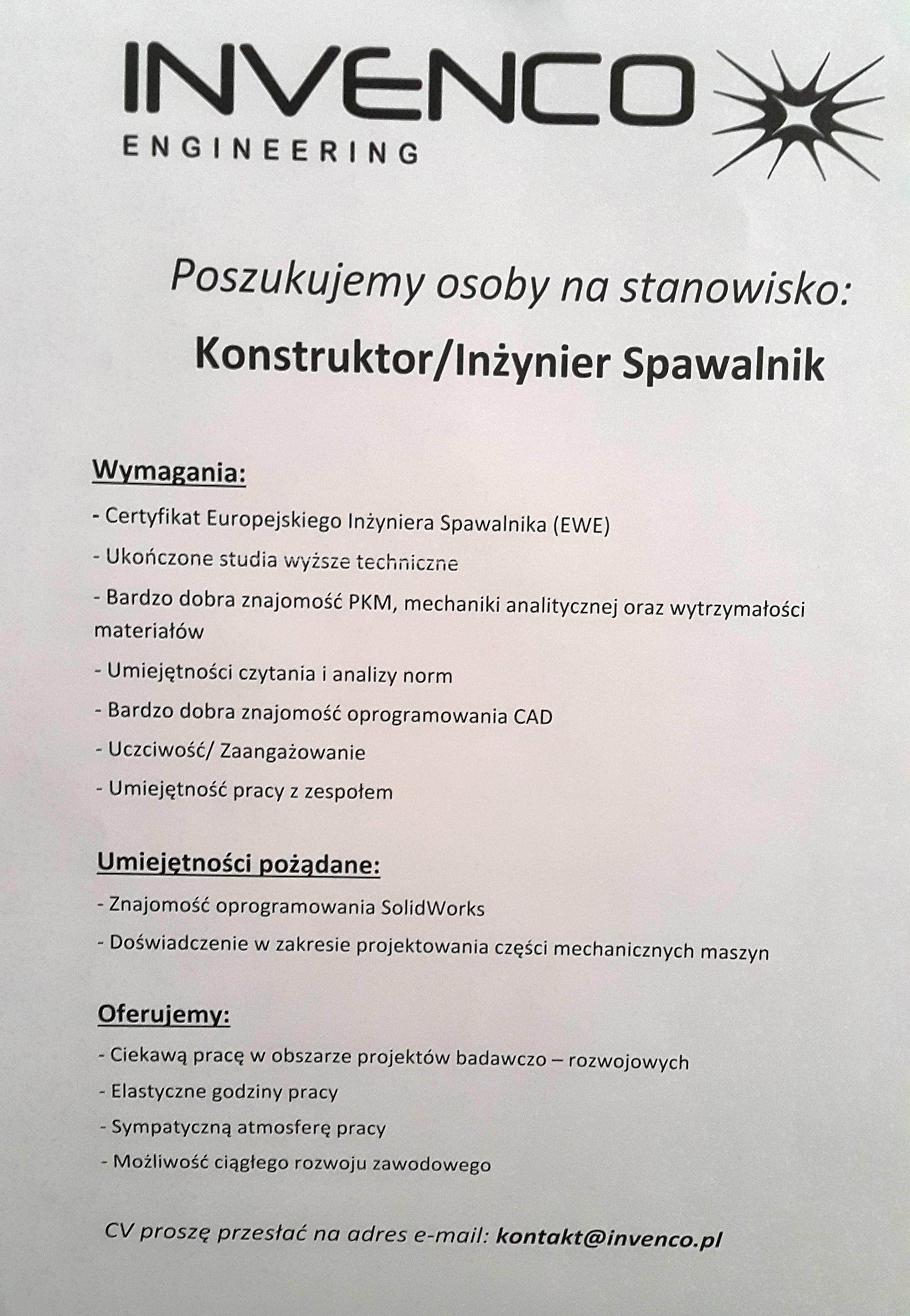Invenco.pl - Konstruktor_Inżynier Spawalnik