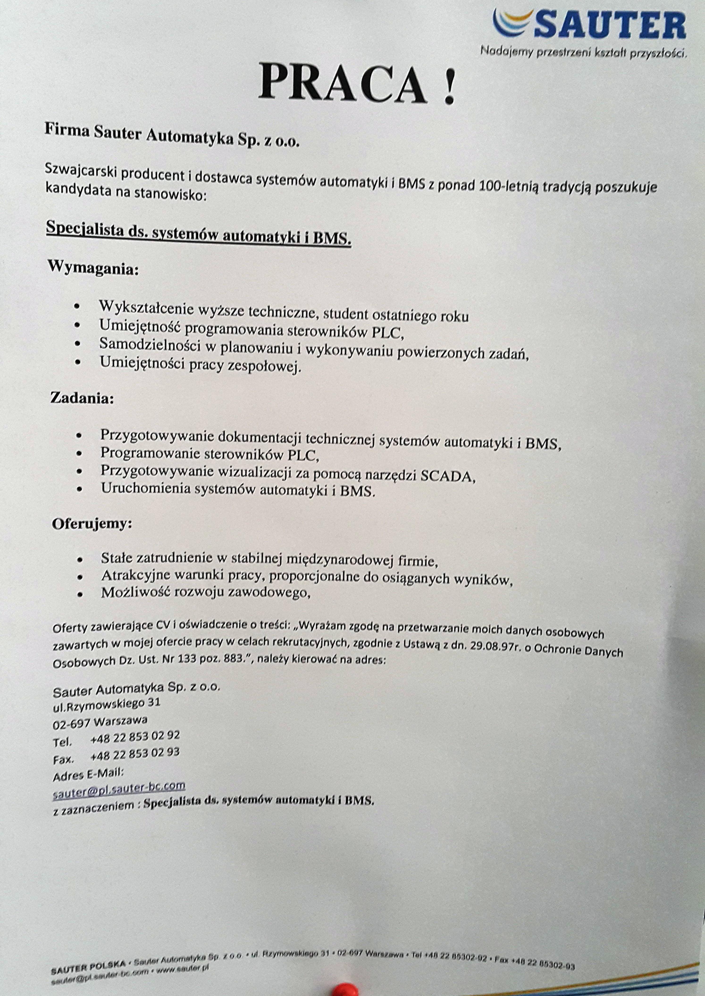 SAUTER AUTOMATYKA Sp. z o.o - Specjalista ds. systemów automatyki i BMS